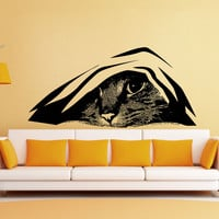 Vinyl Wall Decal Sticker Hiding Cat #5474