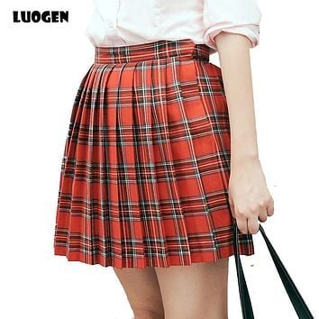 Kawaii Brand Japanese School Plaid Skirt High Waist Pleated Skirt Lolita Saia 2017 Cosplay JK Uniform Student Girls Women Skirts