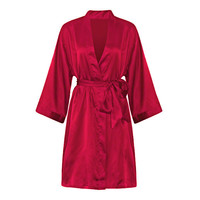 Comfortable Long Sleeved Smooth Silk Nightgown Night-robe For Women