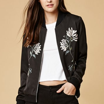 Honey Punch Floral Embroidered Bomber Jacket at PacSun.com