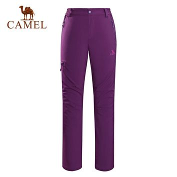 CAMEL Winter Softshell Outdoor Climbing Waterproof Windproof Hiking Pants Women Camping Trekking Cargo Sport Trousers