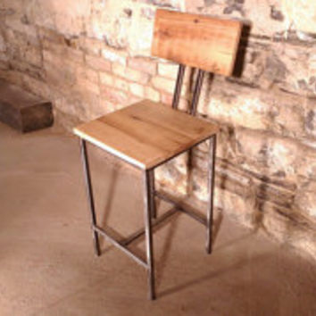 Modern Style Reclaimed Wood and Metal Bar Stools with Back Rest