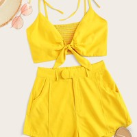 Tie Front Shirred Cami Top With Shorts