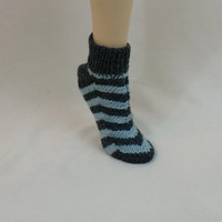 Thick Wool Socks Chevron Zig Zag Stripes Blue Grey Color Gray Slippers House Sock