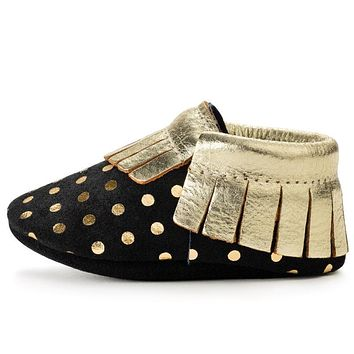 BIRDROCK BABY BLACK AND GOLD BABY MOCCASINS