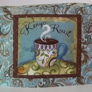 Teal and Brown Toaster Cover - Coffee Cup Toaster Cover - Two Slice Toaster Cover - Teal Paisley Toaster Cover