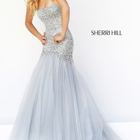 Long Strapless Sequin Formal Dress