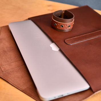 Leather case. MacBook leather sleeve. Brown leather portfolio. Cognac leather clutch. MacBook case. Laptop leather case. Notebook case