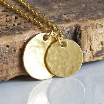 Etsy, Hammered Double Brass Disc Necklace, Metalwork Necklace, Brass Disc Necklace, Gold Disc Necklace, Etsy Jewelry