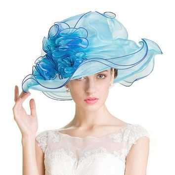 Royal Blue and Pink Church Organza Summer Floral Large Brim Kentucky Derby Hat