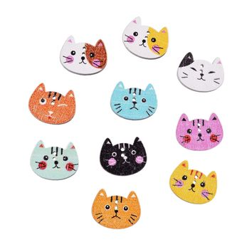 Scrapbooking Christmas Buttons Coconut Buttons 100Pcs Mixed 2 Holes Cut Animal Cat Wood Sewing Buttons Scrapbook 20x16mm