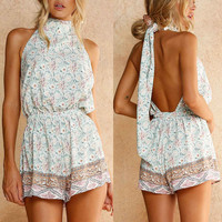 T-shirts Summer Scarf Wrap Sexy Floral Jumpsuit [11310344655]