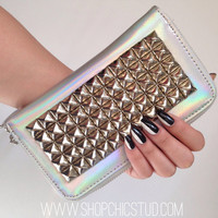 Studded Wallet Clutch - Metallic Holographic Iridescent Silver - Large Silver Studs