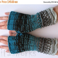 regular price Fingerless Gloves Mittens wrist warmers Blue Green Black Gray Dove knit