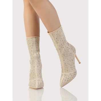 Embellished Fishnet Sock Boots Champagne