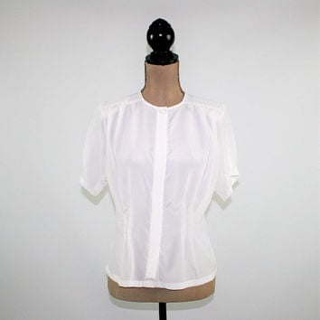 Vintage White Blouse Small Petite Short Sleeve Button Up White Top Collarless Womens Blouses Semi Sheer Vintage Clothing Womens Clothing