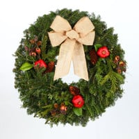 24 in. European Country - Real, Live Fraser Fir Christmas Wreath (Fresh-Cut)