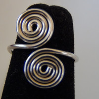 925 Sterling Silver Adjustable Toe Ring Double Swirl Design