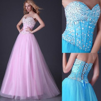 Stunning Sequins Beaded Corset Evening Formal Military Ball gown Party Prom Dress Long