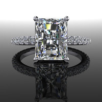 Forever Brilliant Radiant Moissanite and Diamond Engagement Ring 3.13 CTW