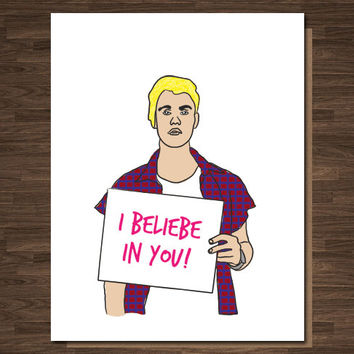 Justin Bieber Card, Congratulations Card, Congrats Card, Encouragement Card, Get Well Card, Funny Getwell card, Funny Congratulations