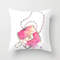Pink  Bag - watercolor Art Print - Fashion Illustration Throw Pillow by Koma Art