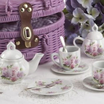 Childrens Porcelain Tea Set in Rounded Wicker Style Basket - Rose