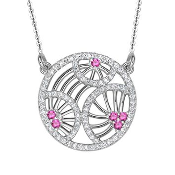 Elegant Magical Wheel of Fortune Eternity Circle Amulet Silver-Tone Royal Pink Crystals Necklace