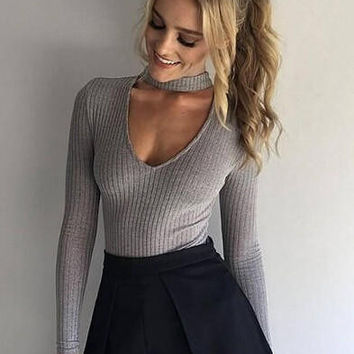 TrendyWomens Choker Neck Ribbed Strectchy Bodysuit Sweater + Free Christmas Gift