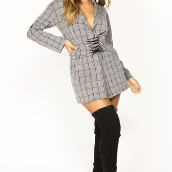 Private Eye Plaid Shirt Dress - Grey