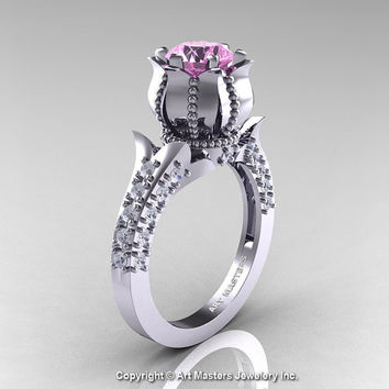 Classic 14K White Gold 1.0 Ct Light Pink Sapphire Diamond Solitaire Wedding Ring R410-14KWGDLPS