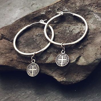 Sterling Silver Hoop St. Benedict Charm Coin Dangle Earrings