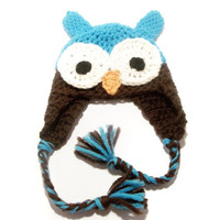 Blue and Brown Newborn Owl Wool Earflap Hat Photo Prop