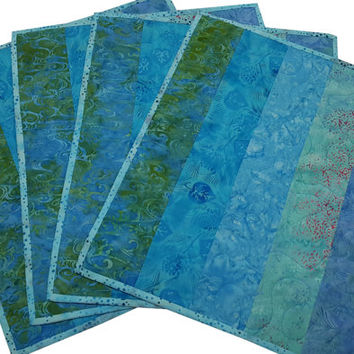 Quilted Placemats in Shades of Aqua Batik