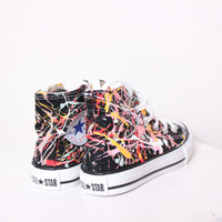 Kids Black High Top Splatter Painted Converse Sneakers Kids Size 11, Pink Melon Colors