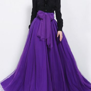 Streetstyle  Casual Bowknot Pocket Removable Tie Plain Flared Maxi Skirt