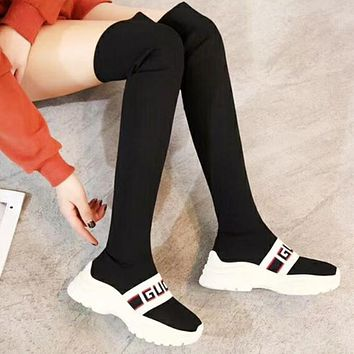 GUCCI Autumn And Winter High Quality New Fashion Sports Leisure Women Long Socks Boots Shoes Black