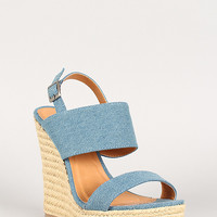 Liliana Denim Espadrille Slingback Open Toe Platform Wedge