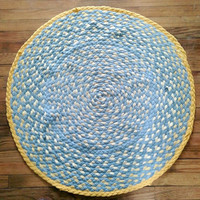 Yellow Rug, Yellow Grey Rug, Yellow Braided Rug, Upcycled Tshirt Rug, Handmade Rug, Round Tshirt Rug, Recycled Rug, Striped Rug, Accent Rug