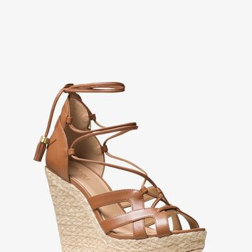 Mirabel Leather Lace-Up Wedge | Michael Kors