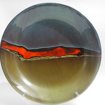 Large Bowl ,Shallow Ceramic Dish, Platter,  Handmade Terracotta Plate in Blue Green and Red, Abstract Landscape