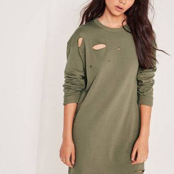 Missguided - Ripped Oversized Sweatshirt Dress Khaki