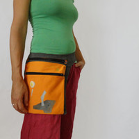 Grey Orange Urban Glam  Hand Painted Hip Bag, Orange Festival Bag, Unique Belt Bag, Orange Fanny pack