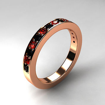 Red sapphire and black diamond wedding band, half eternity ring, rose gold, white gold, yellow gold, gothic wedding, red engagement, black