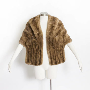 Vintage 50s Fur Stole - MINK Brown Plush Fluffy Wrap Caplet 1950s - Small / Medium