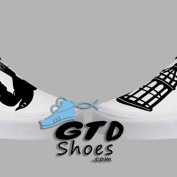 Hand Painted Vans. BioShock, Bird or Cage shoes. First person shooter. Game. Handpaint