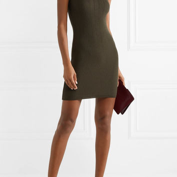 Balmain - Button-embellished ribbed wool-blend mini dress