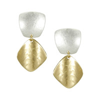 Marjorie Baer Clip On Earrings in Silver and Curved Brass