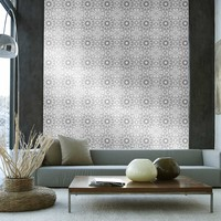 Temporary Wallpaper - Medallion - Metallic Silver/Black