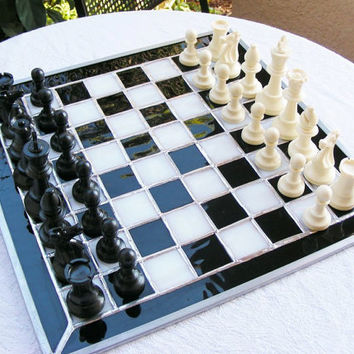 SALE Chess Board with Chess Pieces Set 14 x 14 Black and  White Stained Glass Hanging Panel (ready to ship)